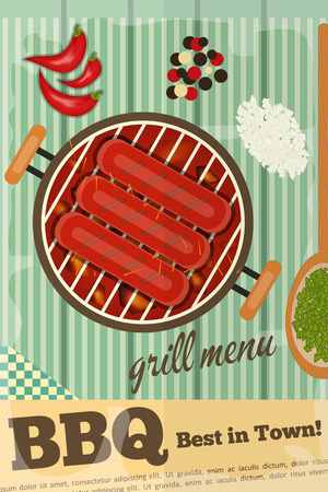 BBQ. Sausage Barbecue, Grill on Wooden Rustic  Illustration