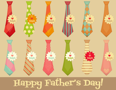 Father's Day Poster with Set of Ties. Flat Design. Retro Style. The inscription on the sticker: I love dad. Layered File. Vector Illustration.