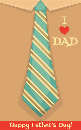 happy fathers day card: Fathers Day Card with Big Tie. Flat Design. Retro Style. Vector Illustration.