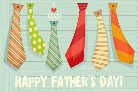 Fathers Day Poster with Set of Ties on Rustic Wooden Background. Retro Style. Vector Illustration.