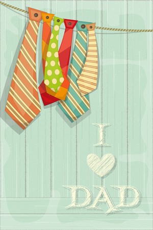 Fathers Day Card with Set of Ties on Rustic Wooden Background. Retro Style. Vector Illustration.