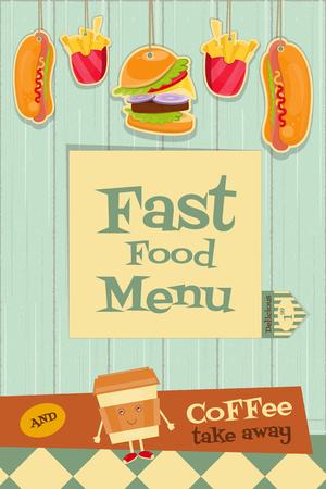 rustic food: Fast Food. Menu Design on Rustic Wooden Background. Vertical Format. Vector Illustration. Illustration