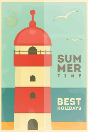 vacances d �t�: Lighthouse. �t� Mer Vacances carte postale. Vector Illustration. Illustration