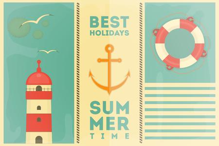 life buoy: Sea Summer Holidays Postcard. Vector Illustration.