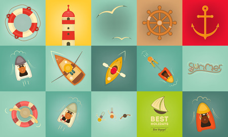 Sea Summer Icons. Layered file. Vector Illustration. Vector