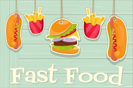 rustic food: Fast Food. Menu Design on Rustic Wooden Background. Vector Illustration.