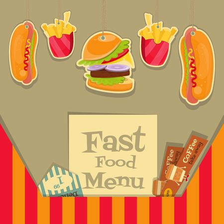 Fast Food Menu Design. Vector Illustration. Vector