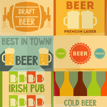 Beer Retro Mini Posters Collection in Flat Design Style. Layered file. Vector Illustration. Vector