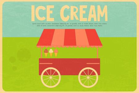 carretto gelati: Ice Cream Retro Poster a Flat Stile Design. Ice Cream Truck on Grass. Illustrazione vettoriale. Vettoriali