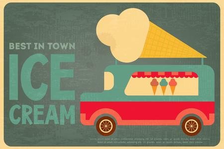 carretto gelati: Ice Cream Retro Poster Piso stile di disegno. Ice Cream Bus. Illustrazione vettoriale. Vettoriali