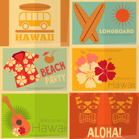 ukulele: Hawaii Surf Retro Mini Posters Collection in Flat Design Style. Layered file. Vector Illustration.