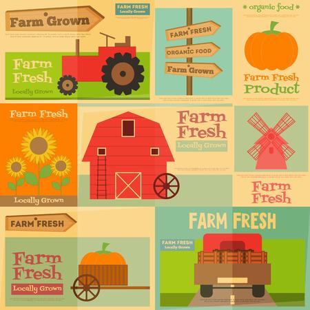 granja: Farm. Set Mini Posters en Flat y estilo retro. Colección de Publicidad Farm Fresh productos. Máquinas agricultoras y artículos. Archivo con capas. Ilustración del vector.