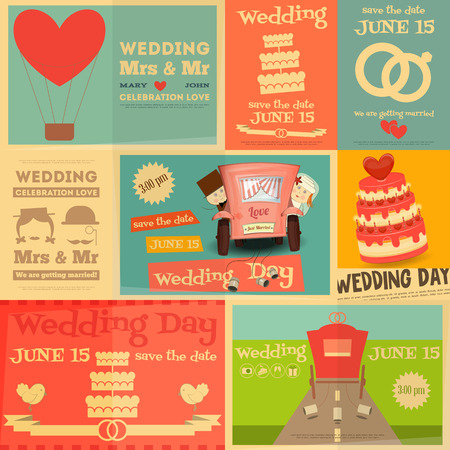 wedding day: Wedding. Set Mini Posters in Flat and Retro style. Collection of Invitations to Wedding Day. Layered file. Vector illustration. Illustration