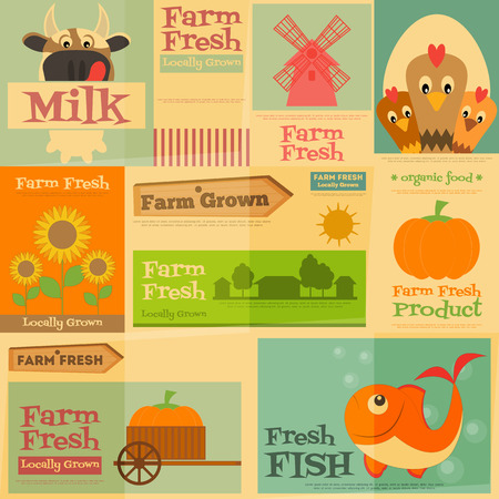 mini farm: Farm. Set Mini Posters in Flat and Retro style. Collection of Advertising Farm Fresh Products. Farm Animals and Items. Layered file. Vector illustration. Illustration