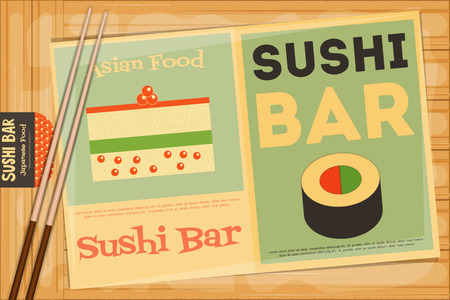 susi: Sushi Poster on Wooden Background. Retro Sushi Menu in Flat Design and Chopsticks. Vector Illustration.