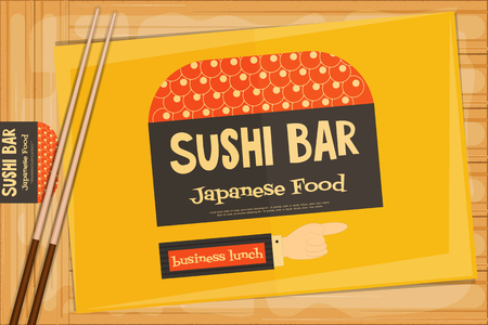 susi: Sushi Poster on Wooden Background. Retro Sushi Menu with Chopsticks. Business Lunch. Vector Illustration.