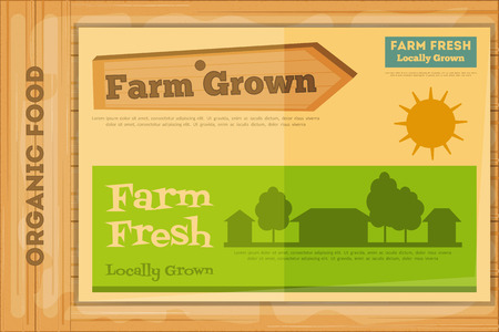 Farm Organic Food Poster on Wooden Background. Retro Placard with Farm Houses. Vector Illustration. Vector