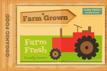 Farm Organic Food Poster on Wooden Background. Retro Placard with Tractor. Vector Illustration. 矢量图像