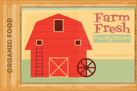 barn barnyard: Farm Organic Food Poster on Wooden Background. Retro Placard with Red Barn House. Vector Illustration.