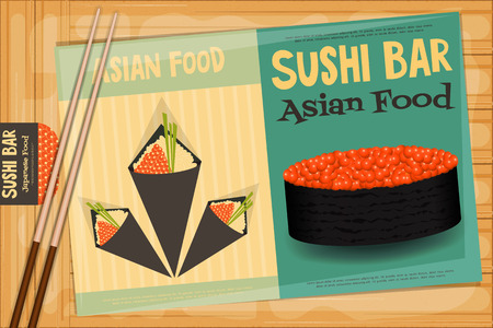 susi: Sushi Poster on Wooden Background. Two Retro Sushi Menu with Chopsticks. Vector Illustration. Illustration