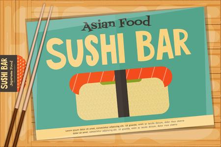 susi: Sushi Poster on Wooden Background. Retro Sushi Menu with Chopsticks. Vector Illustration.