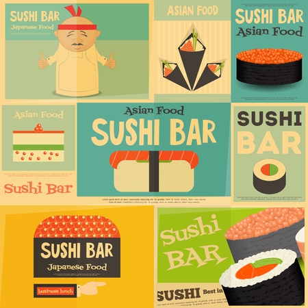 susi: Sushi Mini Posters Collection in Flat Design Style. Sushi Menu. Layered file. Vector Illustration.