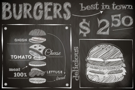 Burger Menu Poster on Chalkboard. Hamburger Ingredients. Big Burger. Vector Illustration.  イラスト・ベクター素材