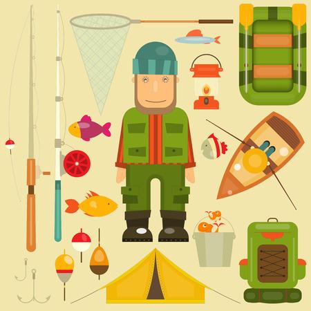 fishing bobber: Fishing Set: Fisherman and Equipment for Fishing: Fishing Rod, Hooks, Boat, Fish, Tent, Bobber. Layered file. Vector illustration.
