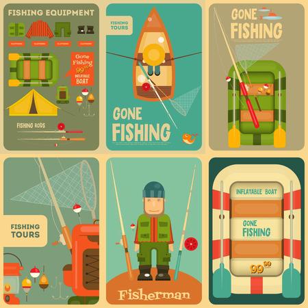 釣りミニポスター セット: 漁師と釣りのための機器: ボート、魚、テント、浮き、釣竿、フックします。階層型ファイル。ベクトルの図。