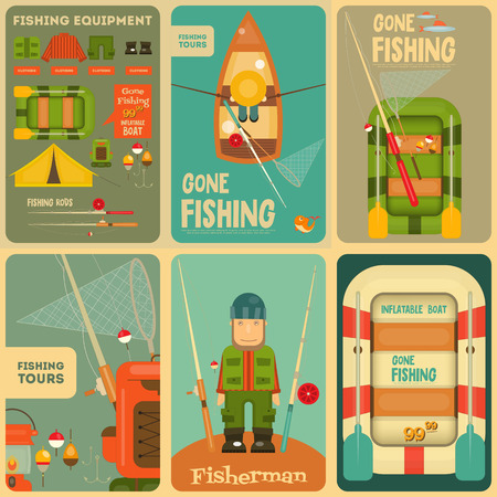 fisherman boat: Fishing Mini Posters Set: Fisherman and Equipment for Fishing: Fishing Rod, Hooks, Boat, Fish, Tent, Bobber. Layered file. Vector illustration.