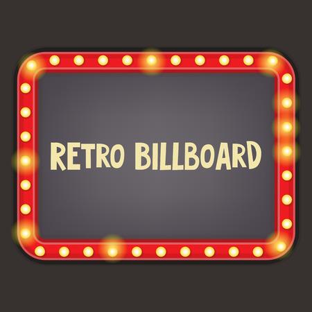 Retro Neon Sign. Billboard ancienne avec place pour le texte. Vecteur Illustrator.