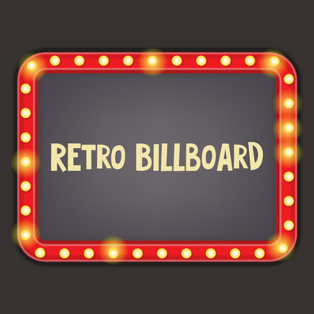 light red: Retro Neon Sign. Vintage Billboard with Place for Text. Vector Illustrator.