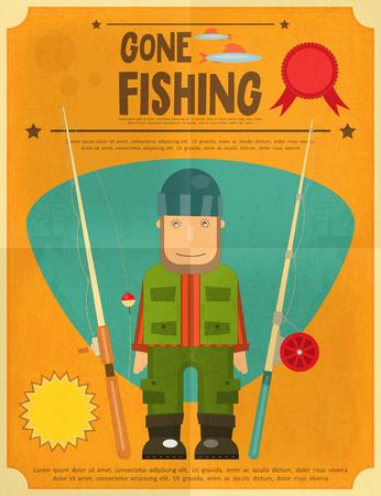 fishing bobber: Fishing Retro Poster: Fisherman with Fishing Rods. Vector illustration.