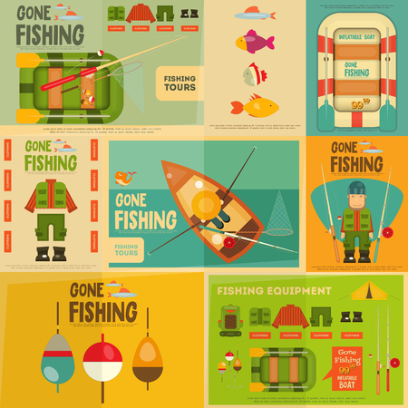 summer cartoon: Fishing Mini Posters Set: Fisherman and Equipment for Fishing. Layered file. Vector illustration. Illustration