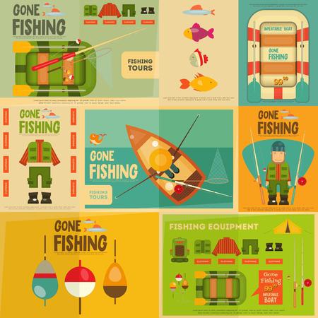 pecheur: Pêche Mini Posters Set: Pêcheur et équipement pour la pêche. Layered fichier. Vector illustration.