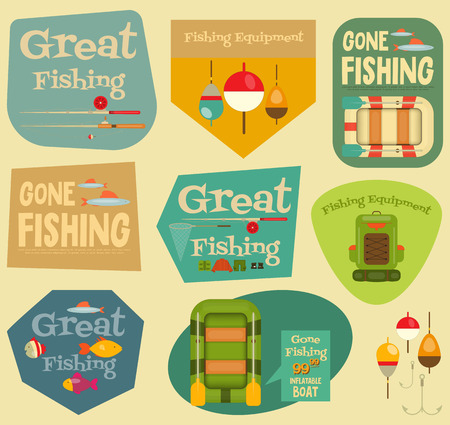 cartoon fishing: Fishing Stickers Set: Equipment for Fishing. Labels Collections. Layered file. Vector illustration.