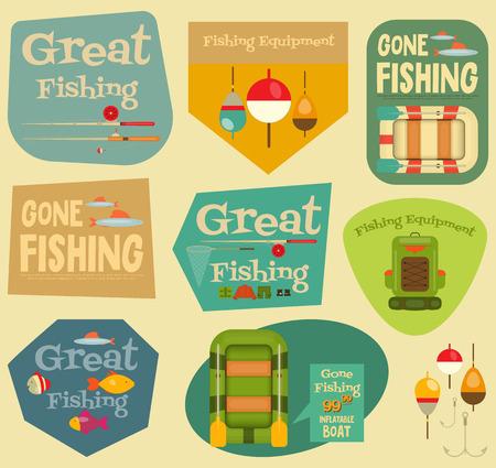 pescando: Pesca pegatinas Conjunto: Equipo para la pesca. Etiquetas de Colecciones. Archivo con capas. Ilustraci�n del vector.