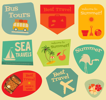 travelling: Flat Travel Stickers Set - Vacation Items in Retro Style - Flat Design Style. Layered file. Vector Illustrations.