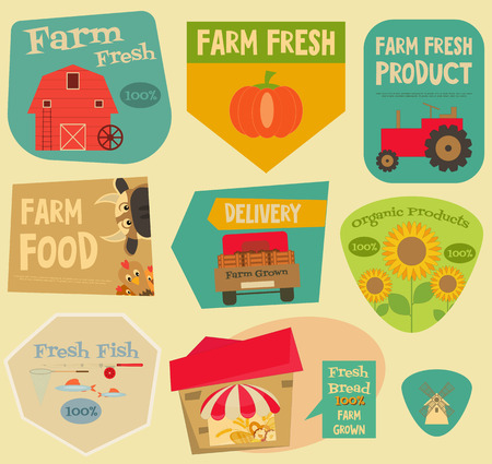 farm fresh: Farm Stickers Set in Flat and Retro style. Collection labels of Advertising Farm Fresh Products. Farm Machines and Items. Layered file. Vector illustration.