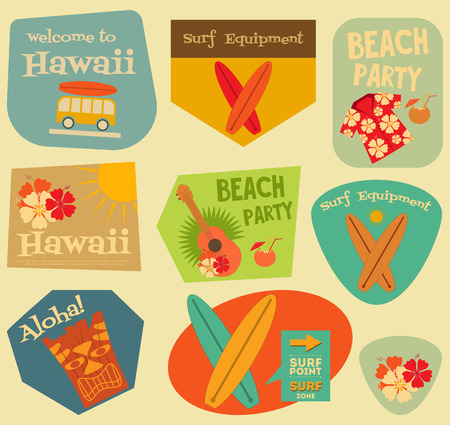 ukulele: Hawaii Surf Stickers Collection in Flat Design Style. Layered file. Vector Illustration.