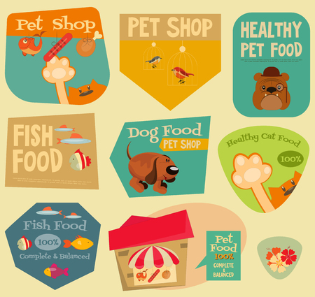 cute cards: Pet Shop Stickers Set in Retro Style. Flat Design Style. Layered file. Vector Illustration.
