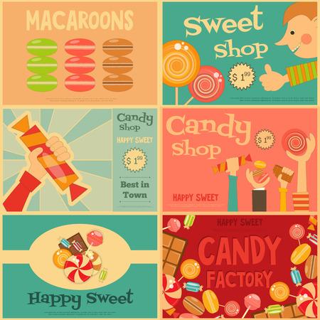 chocolatería: Sweet Shop Mini Posters Conjunto de estilo retro. Publicidad Candy Store. Archivo con capas. Ilustración del vector.