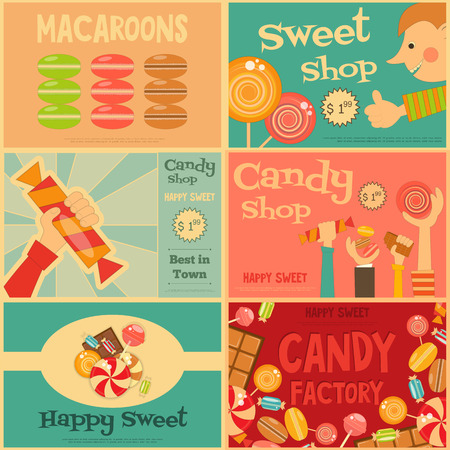 candies: Sweet Shop Mini Posters Set in Retro Style. Advertising Candy Store. Layered file. Vector Illustration.