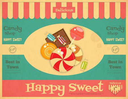 과자와 빈티지 스타일의 사탕 가게 레트로 포스터입니다. 벡터 일러스트 레이 션.