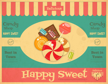 sweet food: Candy Shop Retro Poster in Vintage Style with Sweets. Vector Illustration.