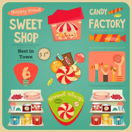chocolatería: Card Shop Sweet. Publicidad Candy Store. Ilustración del vector. Vectores