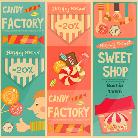 candy store: Sweet Shop Mini Vertical Posters Set in Retro Style. Advertising Candy Store. Vector Illustration. Illustration
