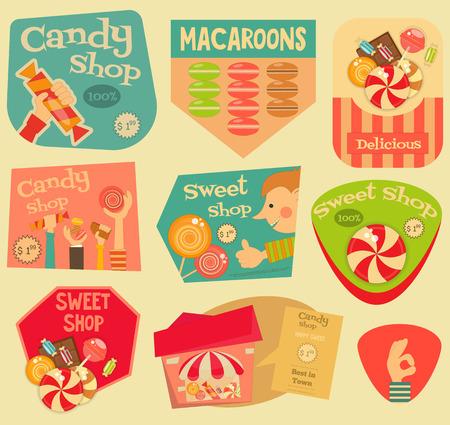 chocolatería: Sweet Shop pegatinas Conjunto de estilo retro. Publicidad Candy Store. Archivo con capas. Ilustración del vector.