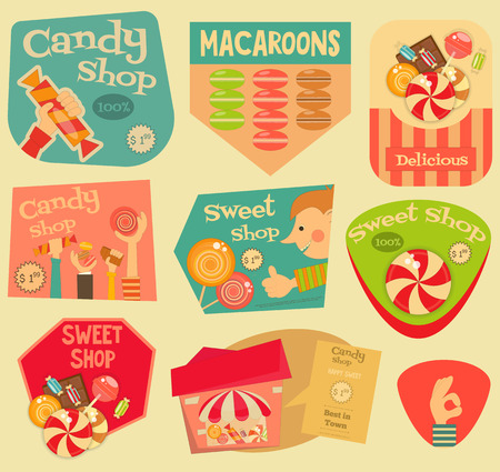sweetest: Sweet Shop Stickers Set in Retro Style. Advertising Candy Store. Layered file. Vector Illustration. Illustration