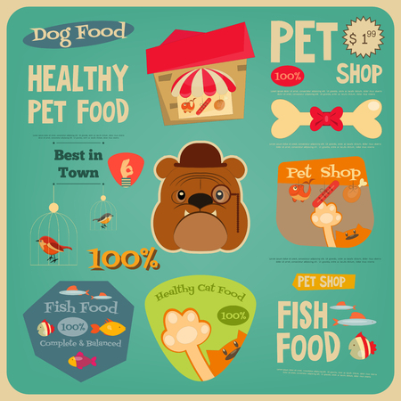 pet shop: Pet Shop Card. Flat Design Style. Advertising Pet Food. Vector Illustration.